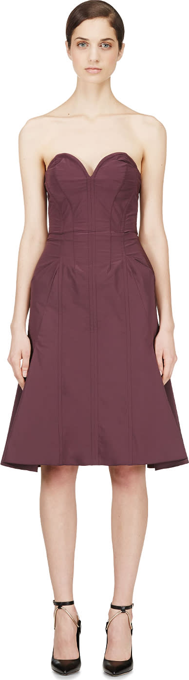 Nina Ricci Purple Satin Compact Bustier Dress