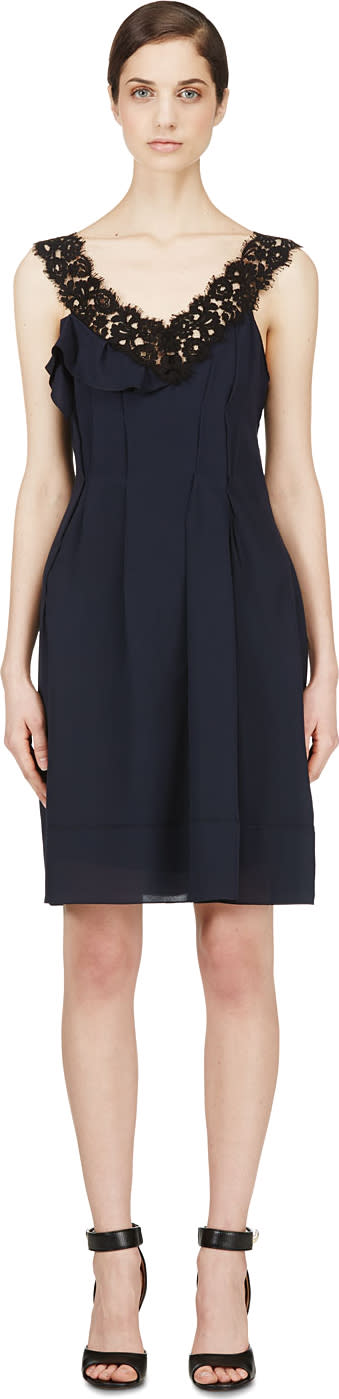 Nina Ricci Navy Crepe and Lace Pleated Dress