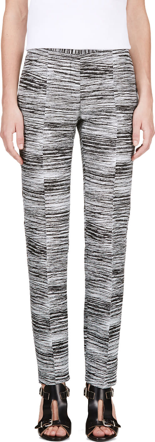 Image of Calvin Klein Collection Black and White Jacquard Brush Slice Tamar Trousers