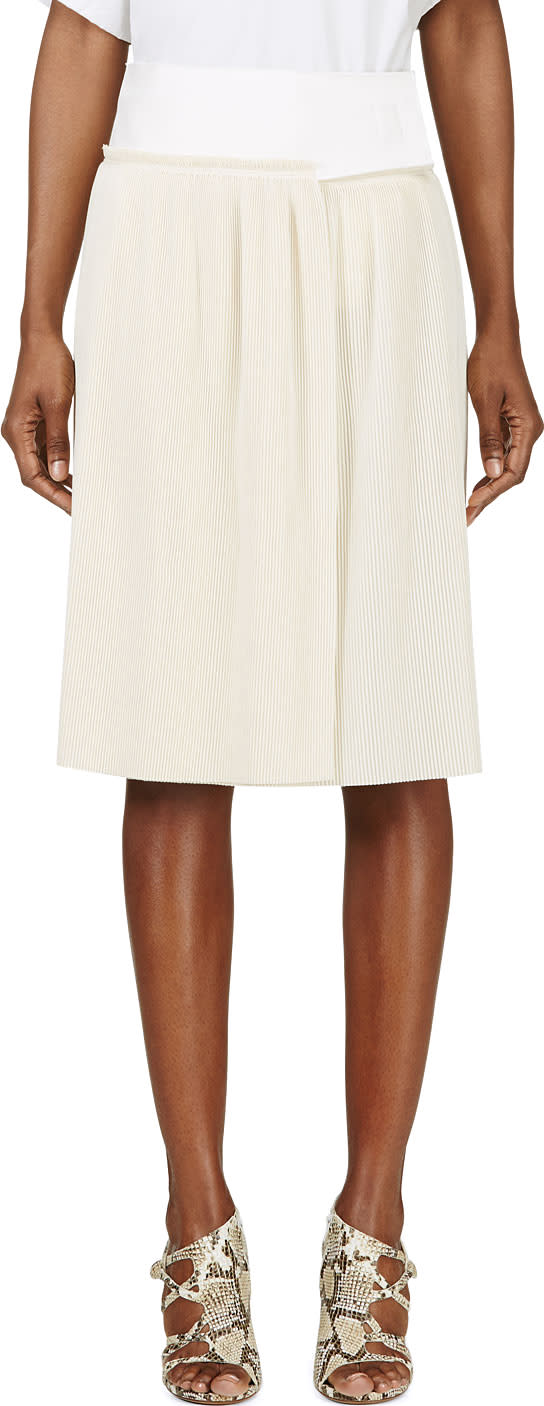 Calvin Klein Collection Beige Spun Silk Micro Pleated Vives Wrap
