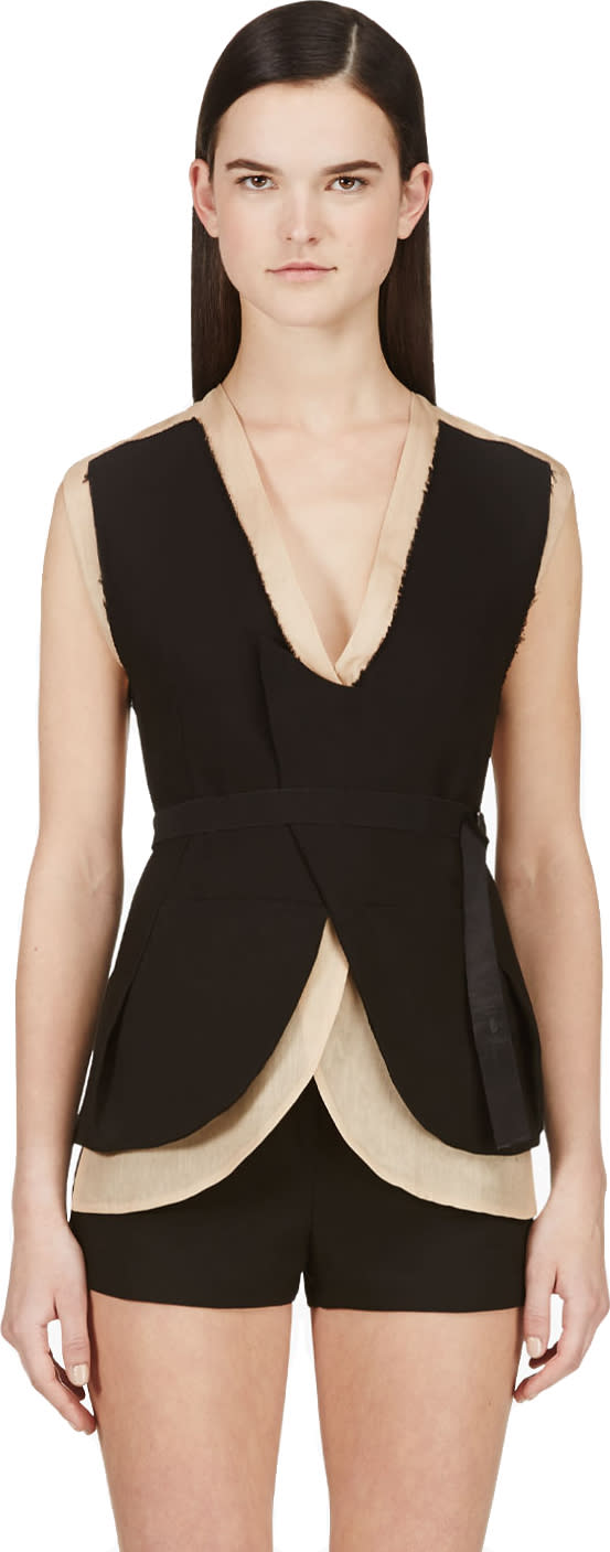 Costume National Nude and Black Layered Backless Vest