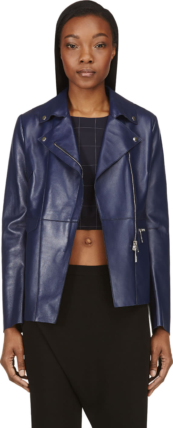 Costume National Indigo Lambskin Jacket