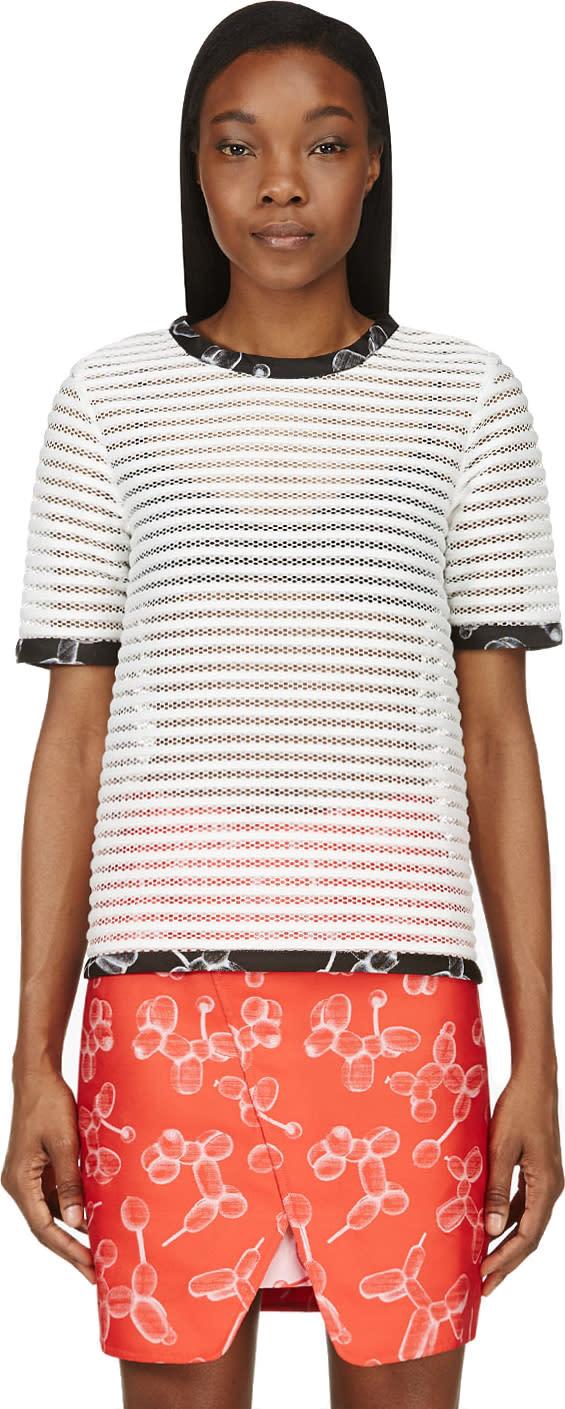 Ostwald Helgason White Ribbed Mesh Stripe T-shirt