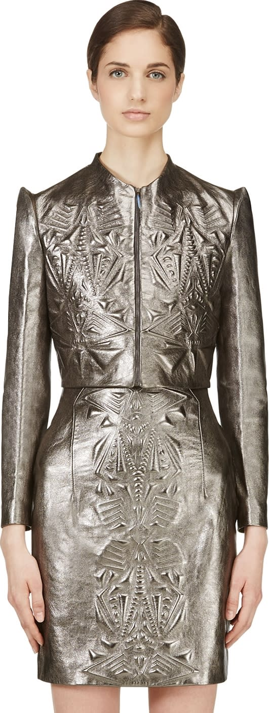 Image of Iris Van Herpen Pewter Cropped Embossed Leather Jacket