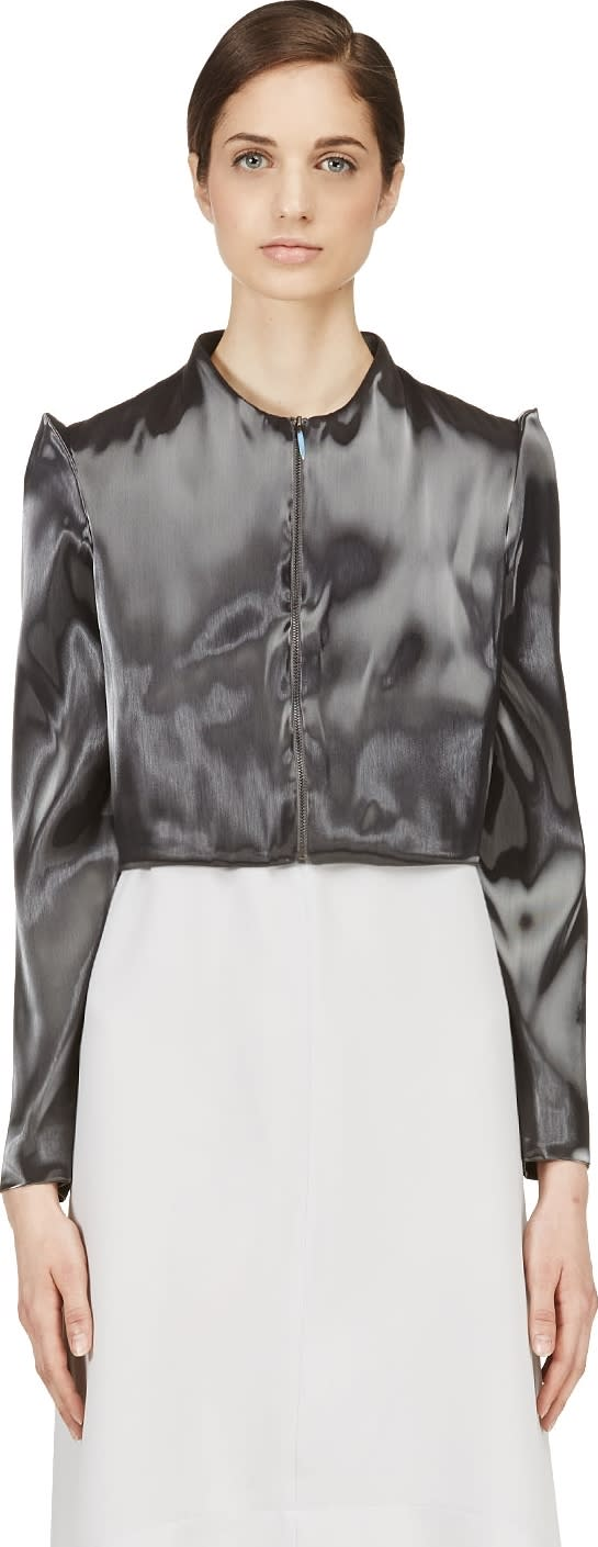 Image of Iris Van Herpen Grey Cropped Liquid Jacket