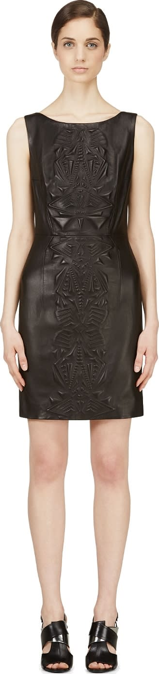 Image of Iris Van Herpen Black Embossed Leather Dress