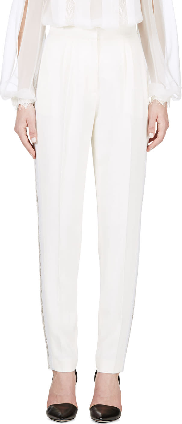 Zuhair Murad Ivory Lace Trim Trousers