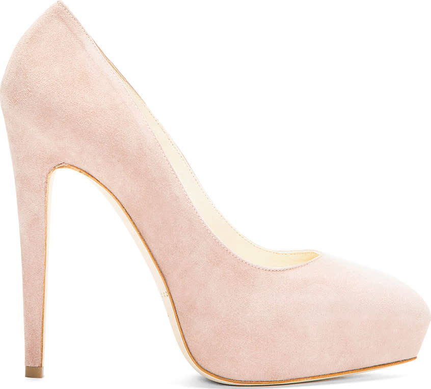 Image of Brian Atwood Nude Suede Platform Obsession Pumps