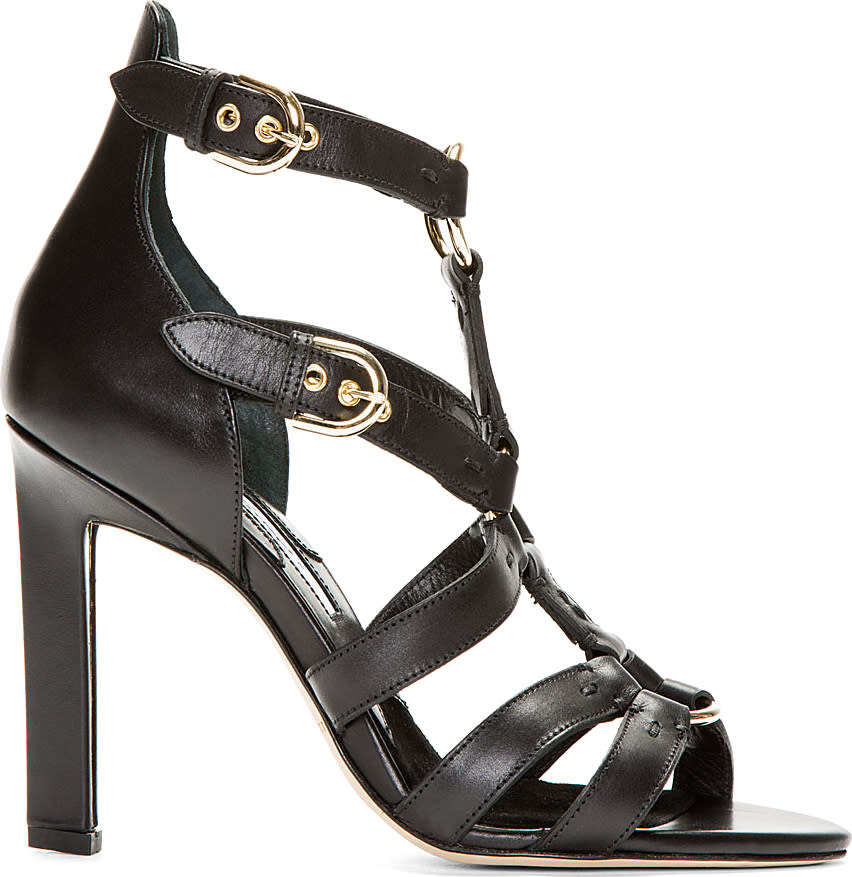 Image of Brian Atwood Black Leather Harness Adrya Heels