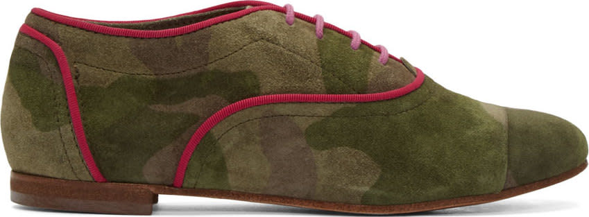 Studio Pollini Green Suede Camo Oxfords