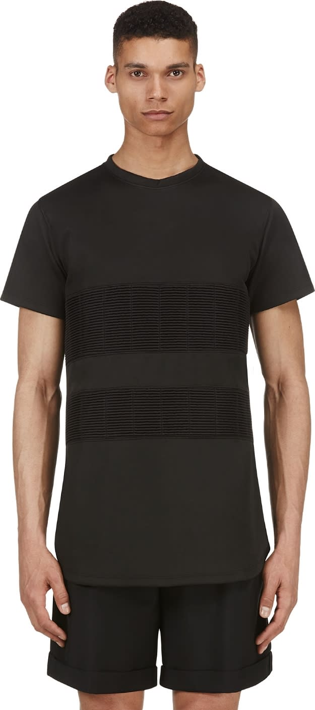 Image of En Noir Black Ribbed Band T-shirt
