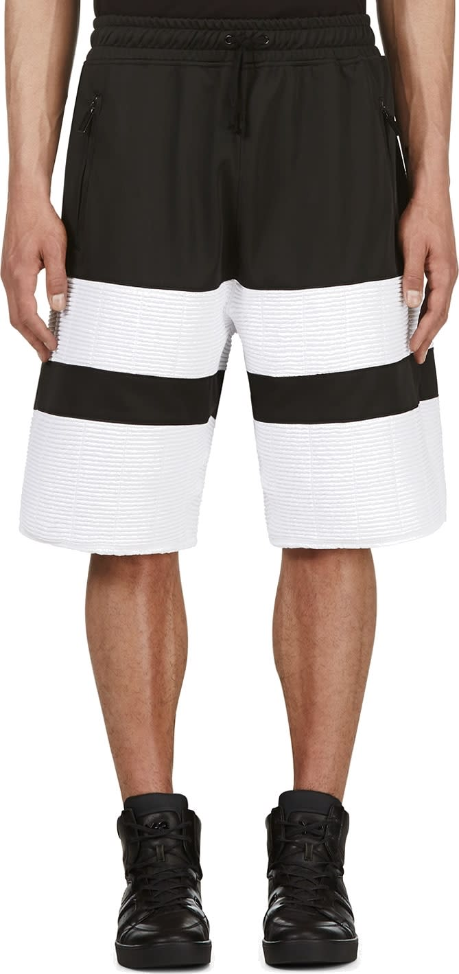 En Noir Black and White Ribbed Shorts
