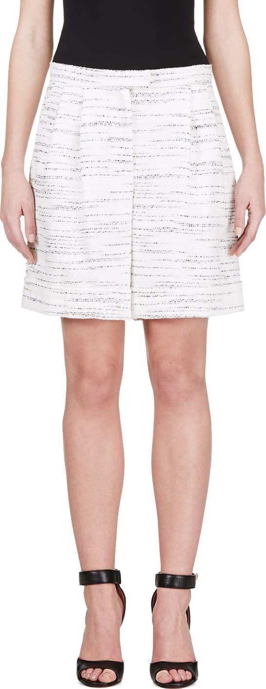 Giambattista Valli Black and Ivory Marled Bermuda Shorts
