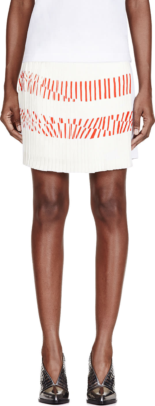 Image of Maiyet White Silk Printed Pleated-paneled Skirt