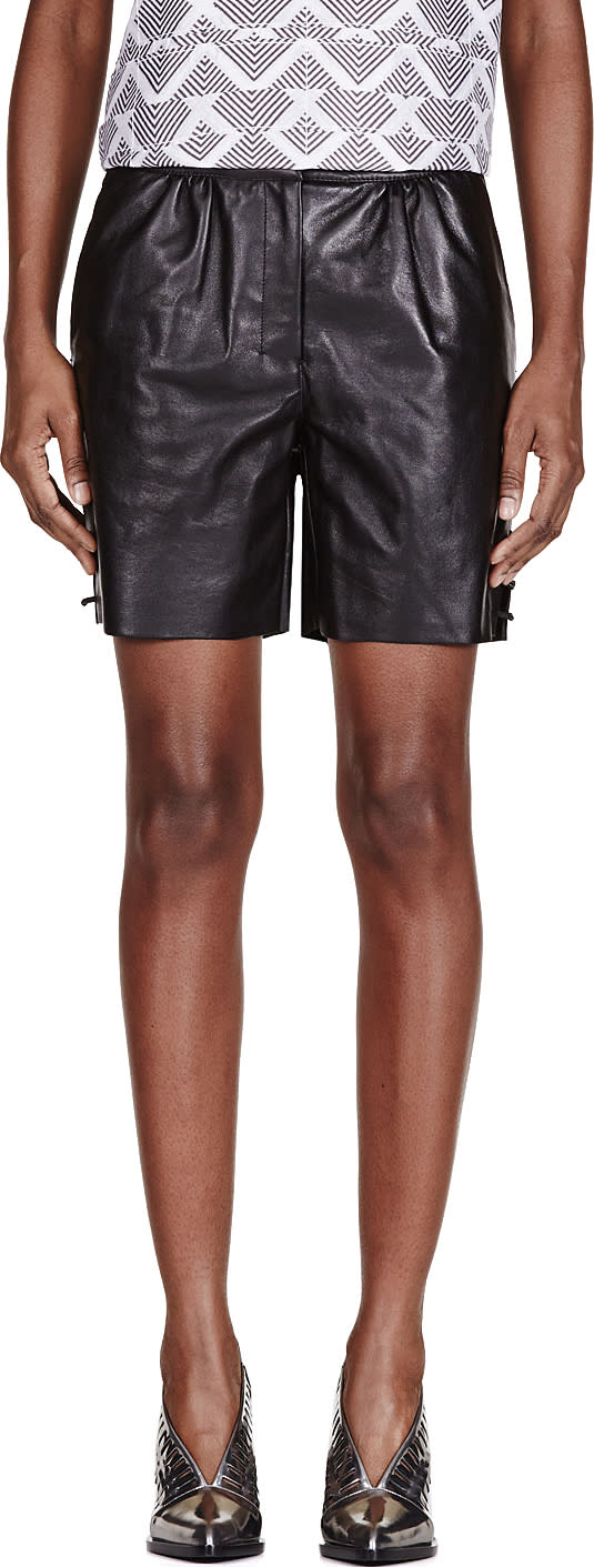 Image of Maiyet Black Leather Straight Shorts