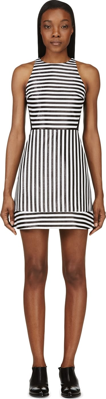 Image of Richard Nicoll Black Lurex Stripe Mini Dress