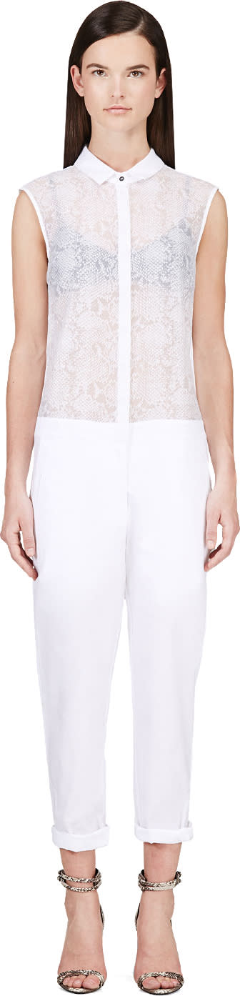 Image of Richard Nicoll White Semi-sheer Python Print Jumpsuit