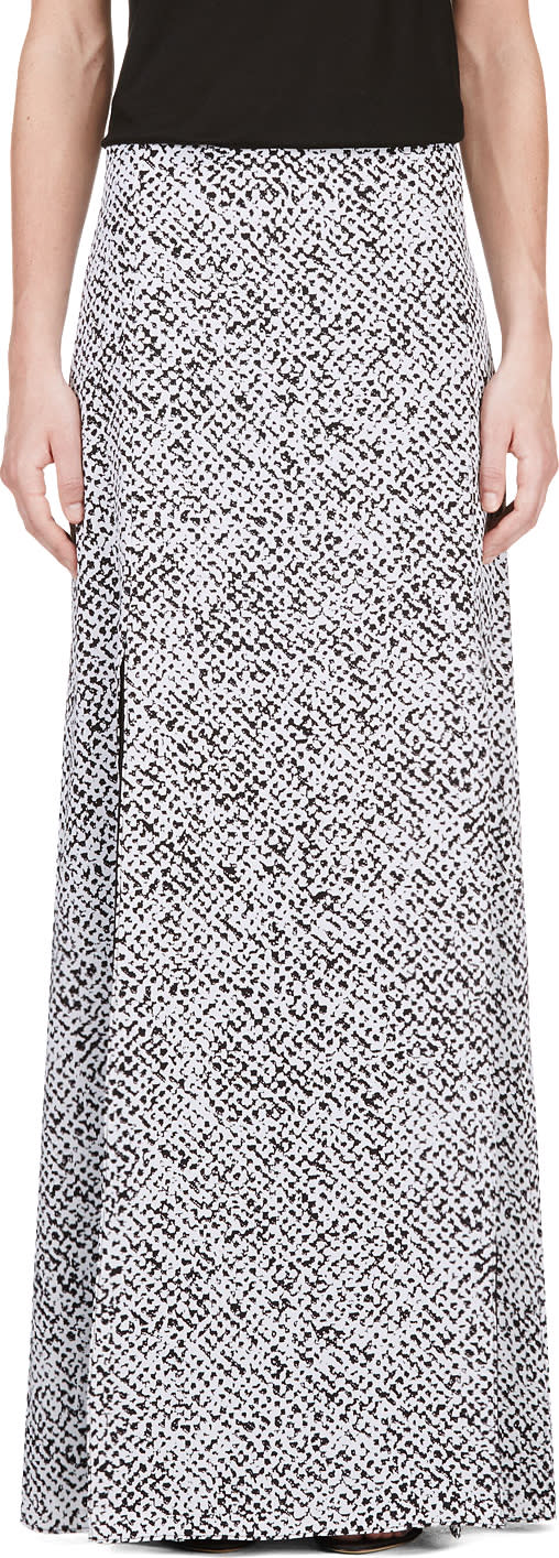Image of Richard Nicoll Black and White Crepe De Chine Maxi Skirt