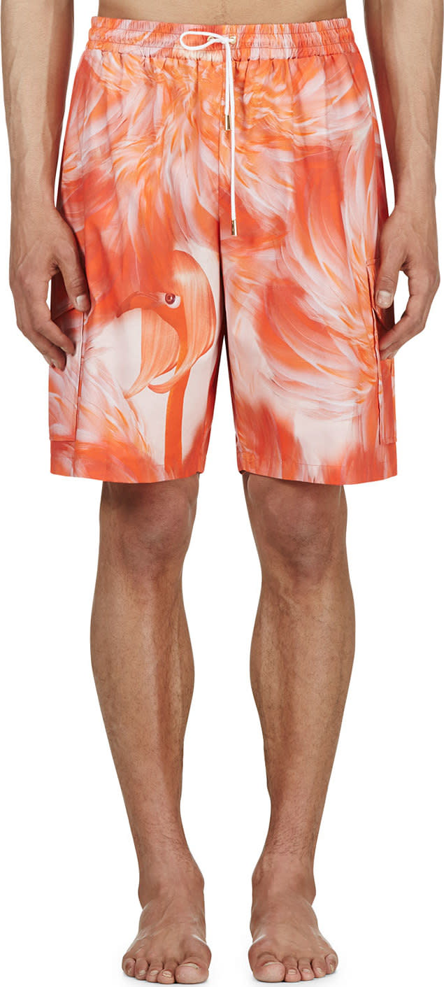 Katie Eary Pink Flamingo Feather Swim Shorts