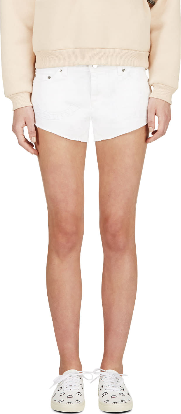 Image of Filles A Papa White Embroidered Denim Chastity Mini Shorts