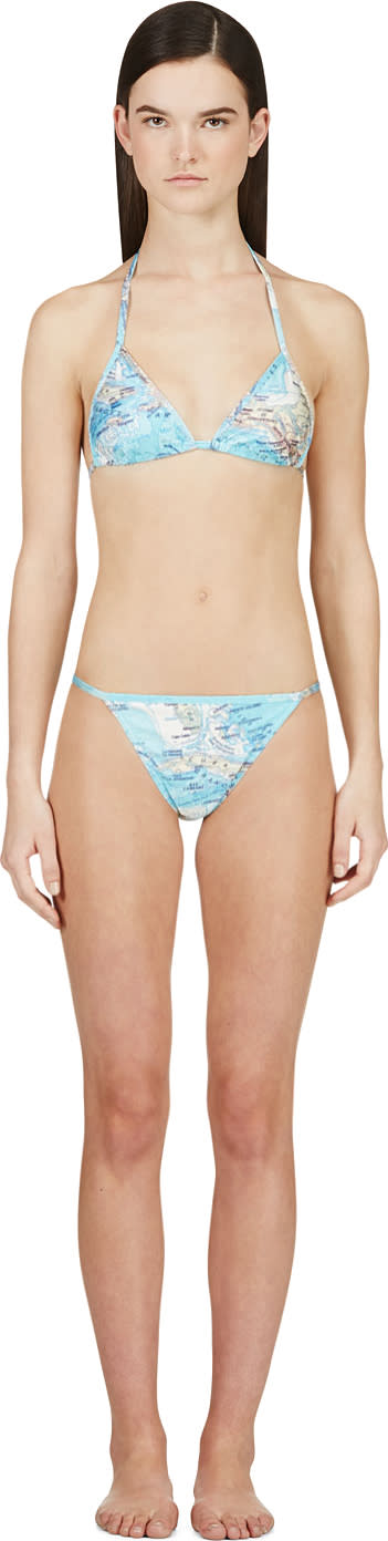 Image of Filles A Papa Blue Map Print Caribbean String Bikini