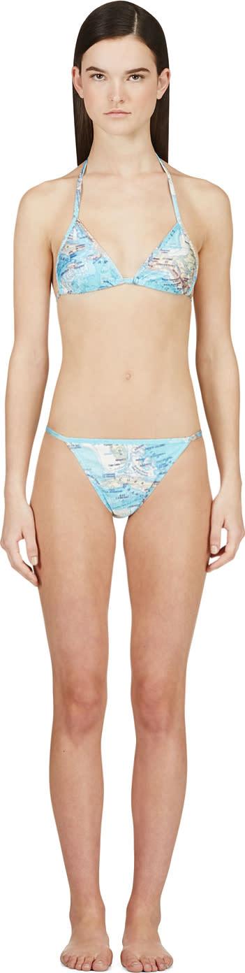 Filles A Papa Blue Map Print Caribbean String Bikini