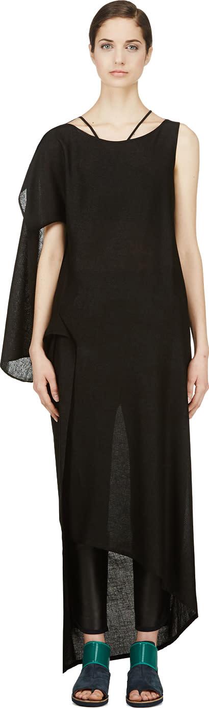 Image of Yohji Yamamoto Black Asymmetric Drape Dress