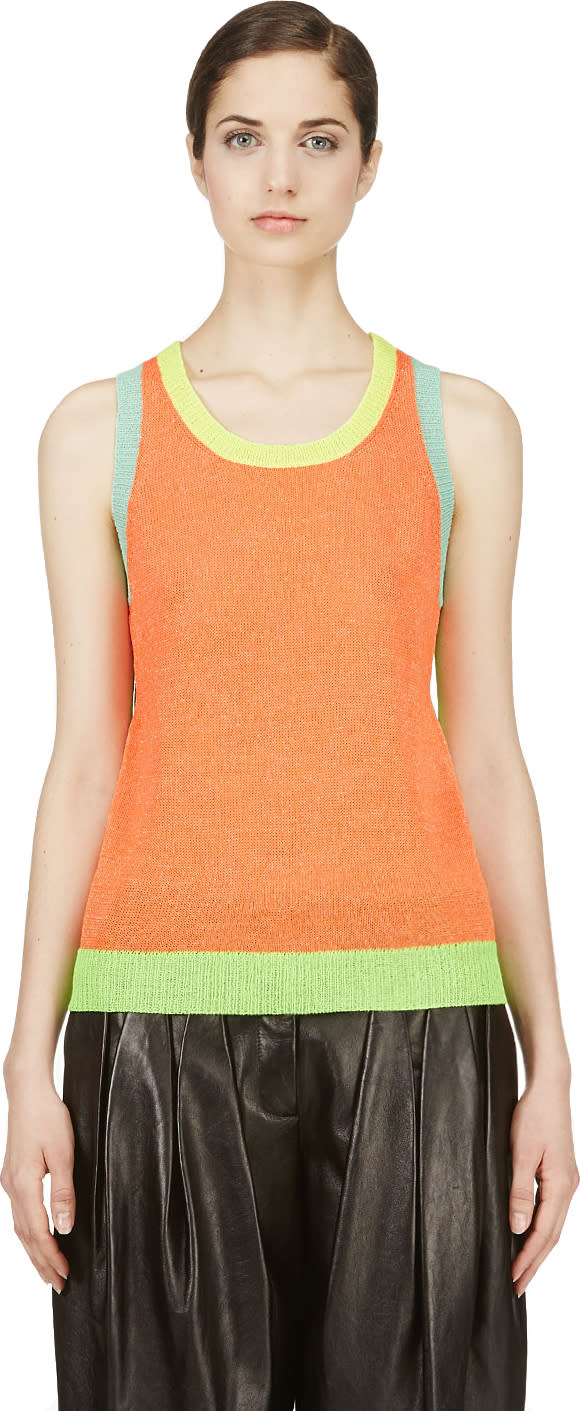Yohji Yamamoto Fluorescent Orange Colorblocked Top