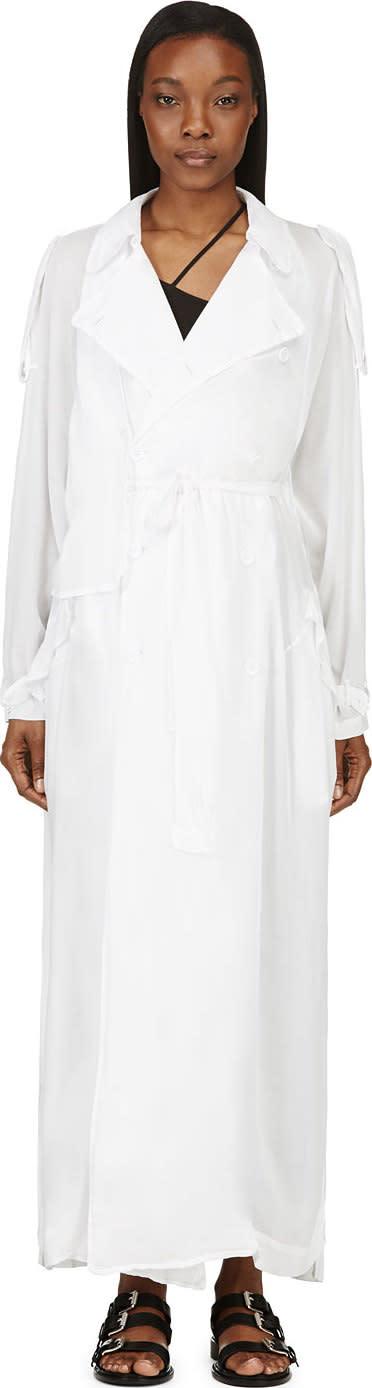 Nicolas Andreas Taralis White Oversized Lightweight Trench Coat