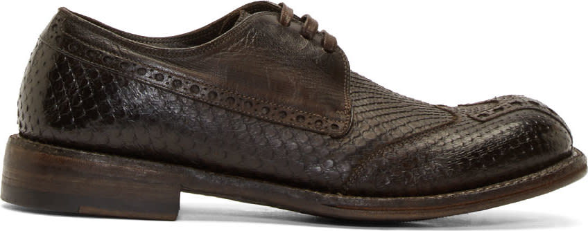 Dolce and Gabbana Brown Python and Kangaroo Leather Wingtip Brogues
