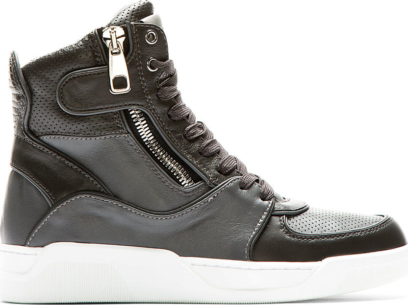 Dolce and Gabbana Grey Panelled Leather High-top Sneakers