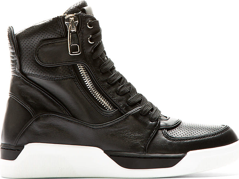 Dolce and Gabbana Black and White High Top Leather Sneakers
