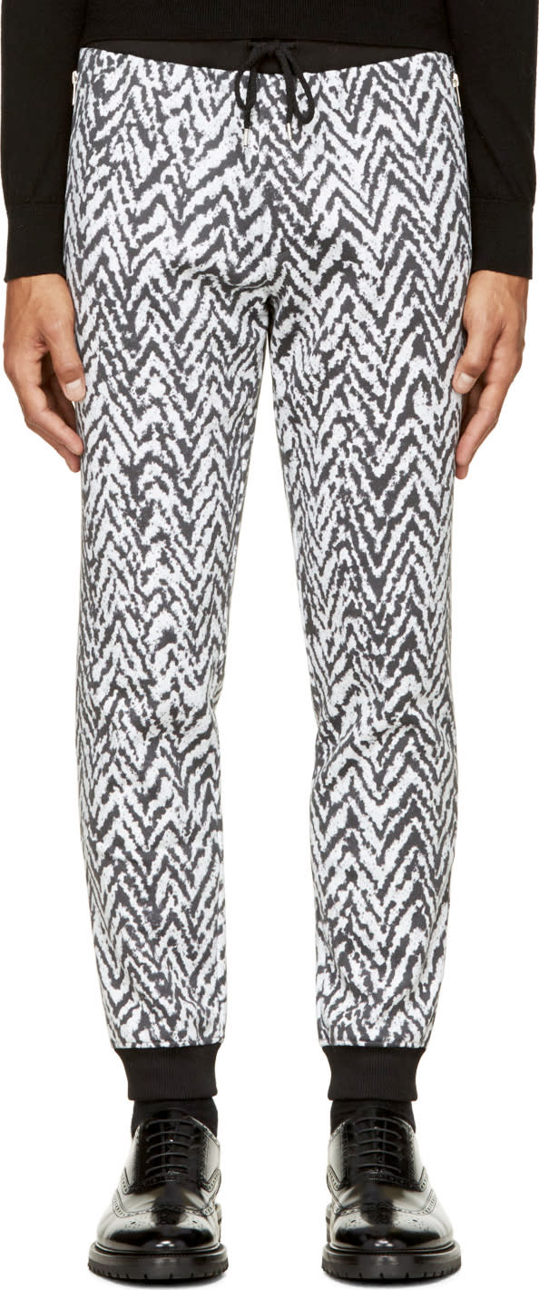 Krisvanassche Black and White Chevron Lounge Pants