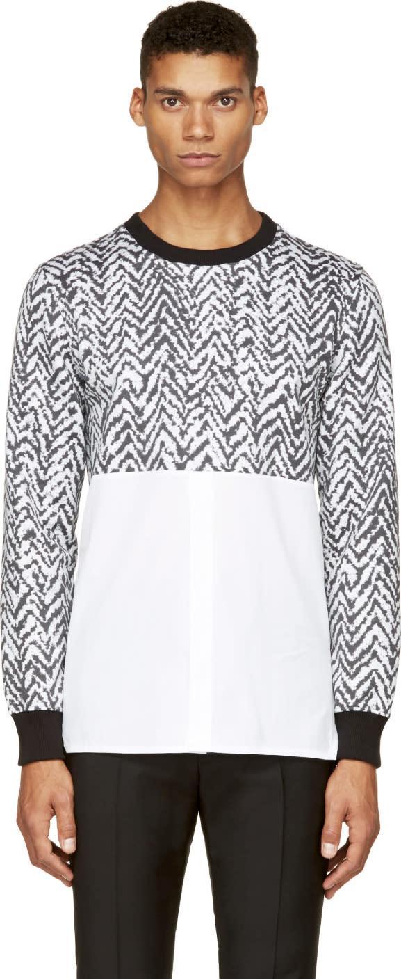 Krisvanassche Ssense Exclusive Black and White Chevron Hybrid Shirt