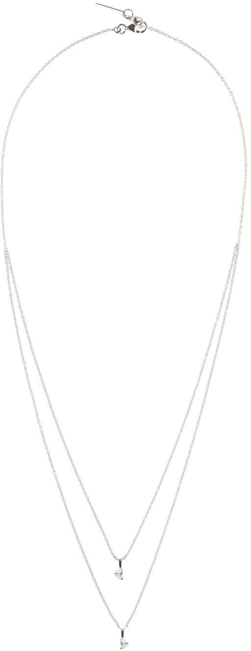 Image of Maison Margiela Fine Jewellery White Gold Crescent Diamond Solitaire Bisected Necklace