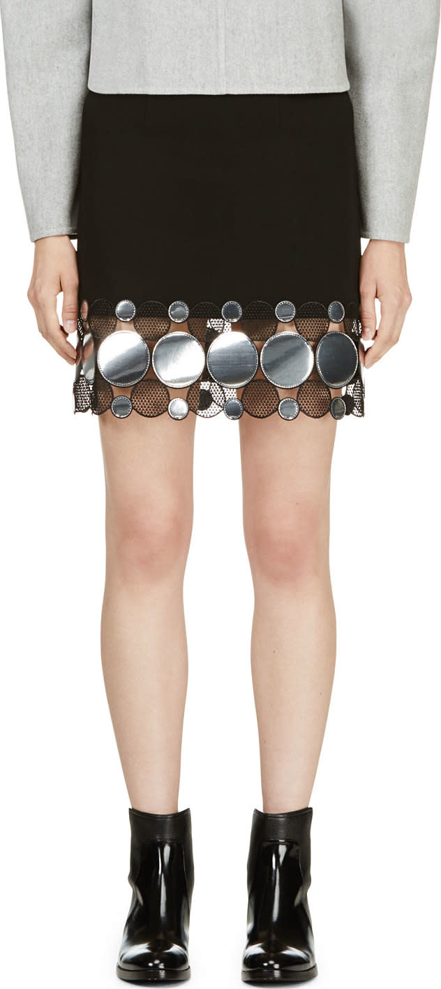 Image of Christopher Kane Black and Silver Continuous Molecule Trim Skirt
