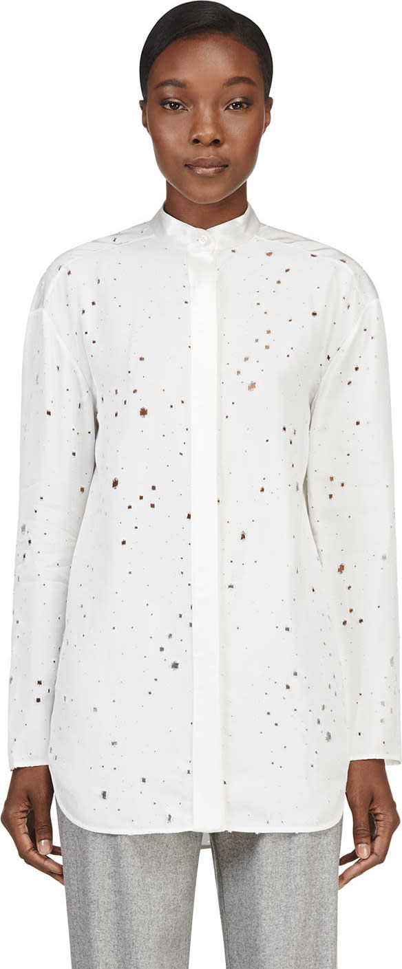 Alexander Wang Ivory Distressed Keyhole Tie Blouse
