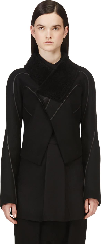 Rick Owens Black Shearling Stag Jacket
