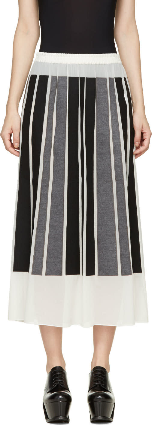 Viktor and Rolf Ivory Silk Gorgette Black and Grey Paneled Skirt