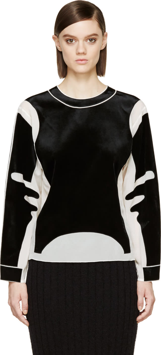 Viktor and Rolf Ivory Crêpe De Chine and Black Velvet Crewneck