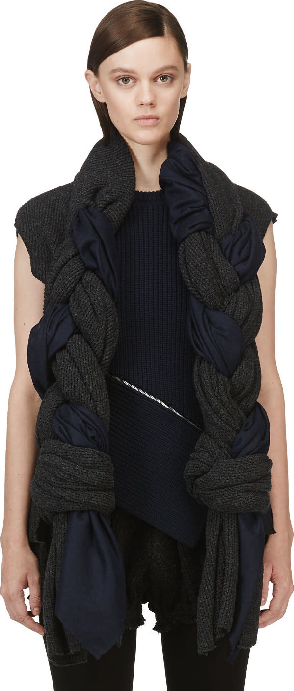 Comme Des Garçons Grey and Navy Knit Braided Scarf Vest