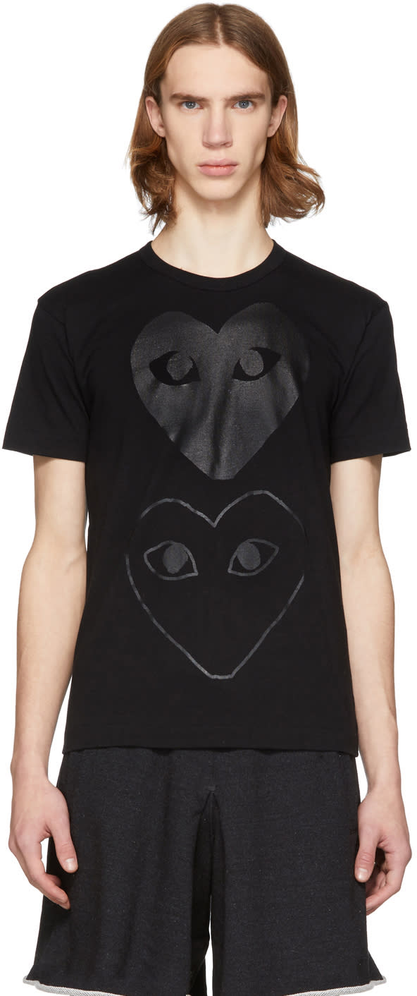Comme Des Garcons Play Black Two Hearts T-shirt