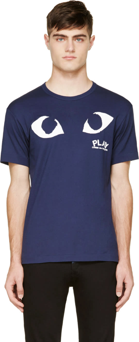 Comme Des Garçons Play Navy and White Logo T-shirt