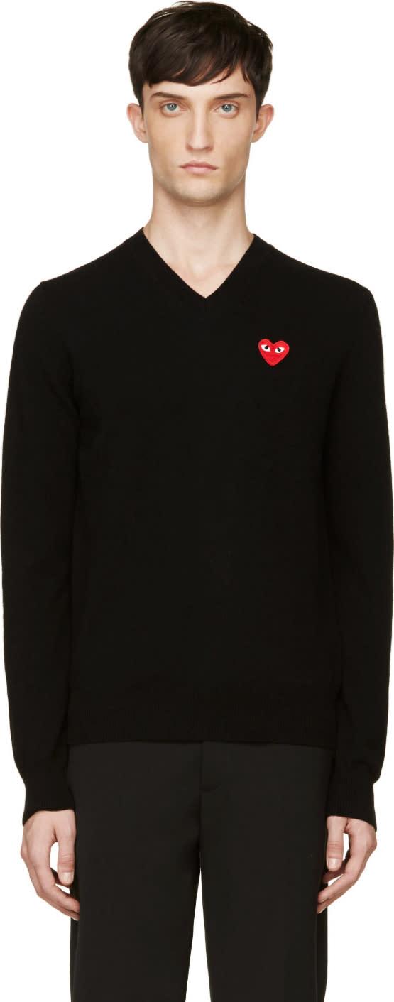 Comme Des Garçons Play Black Wool Heart Emblem Sweater