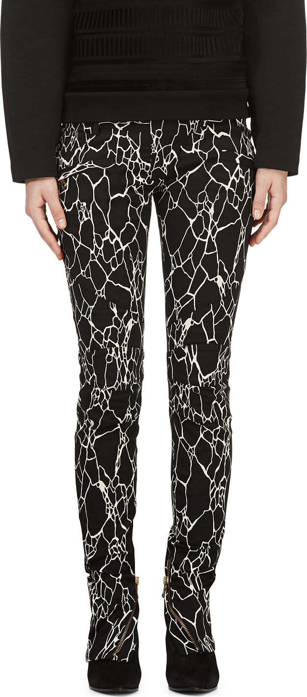 Balmain Black and White Printed Jeans