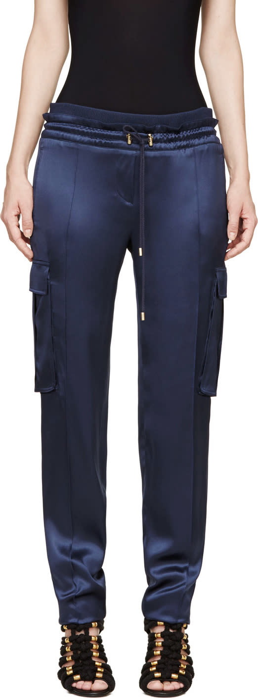 Balmain Blue Silk Cargo Trousers