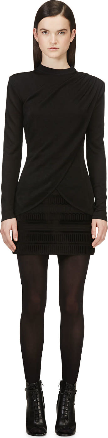 Balmain Black Drape Front Knit Sweater