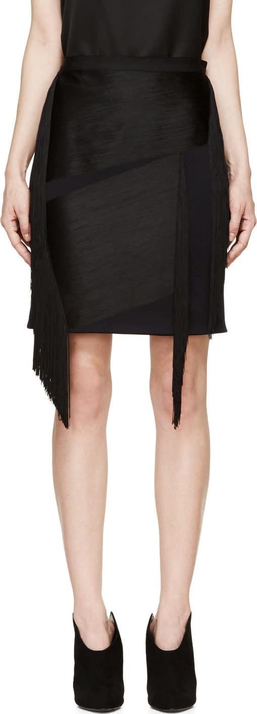 Lanvin Ink Blue Wool Fringed Mini Skirt