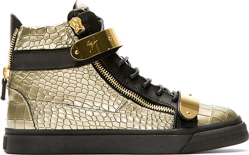 Giuseppe Zanotti Gold Croc-embossed High-top Sneakers