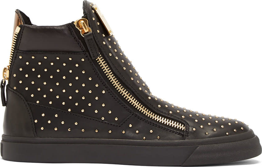 Giuseppe Zanotti Black Leather Mini-stud Sneakers